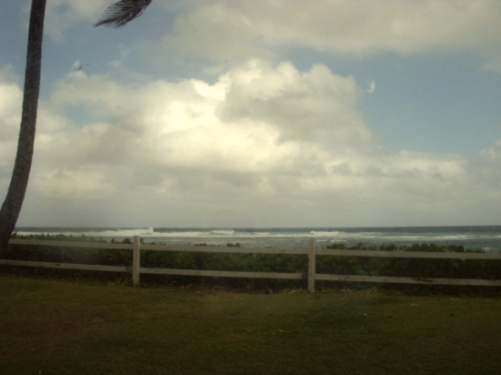 Mary Morgan's view of a storm blowing in over Kauai