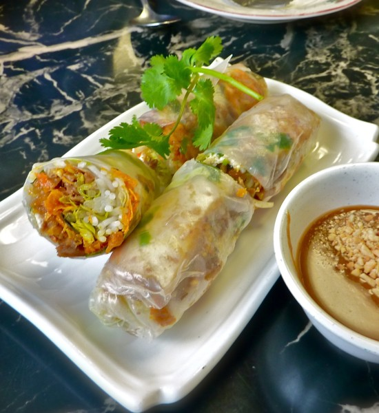 Vegan spring rolls at Tan Tan, with a luscious peanut dipping sauce.
